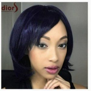 Accessories - Blue Black Cosplay Bob Hair Extension Wig 13-Inch
